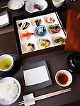 Meal served at a Japanese high-end sushi restaurant. Ginza, Tokyo, Japan.