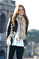 "RACHEL BILSON.Photocall for ""Jumper"", Rome, Italy..February 6th, 2008.half length black jacket pattern print scarf.CAP/CAV.©Luca Cavallari/Capital Pictures."