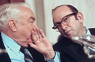 Chair of the Senate Watergate Committee, Sam Ervin (L) with  Samuel Dash - 1973 - A break in at the Democratic National Committee headquarters at the Watergate complex on June 17, 1972 results in one of the biggest political scandals the US government has ever seen.  Effects of the scandal ultimately led to the resignation of  President Richard Nixon, on August 9, 1974, the first and only resignation of any U.S. President.