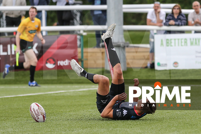 Alex Walker of London Broncos scores a try during the Kingstone Press Championship match between London Broncos and Featherstone Rovers at Castle Bar , West Ealing , England  on 25 June 2017. Photo by David Horn.