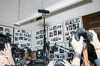 Media surround Vice President Mike Pence in the New Hampshire Secretary of State's office in the New Hampshire State House  in Concord, New Hampshire, on Thu., November 7, 2019. Pence traveled to New Hampshire as a surrogate for Donald Trump to file required paperwork for the president to get on the New Hampshire presidential primary ballot in 2020. The required documents include a filing form signed by the candidate and a $1000 filing fee.During the filing, Pence was surrounded by prominent New Hampshire and New England Republicans including former Trump campaign manager Corey Lewandowski.