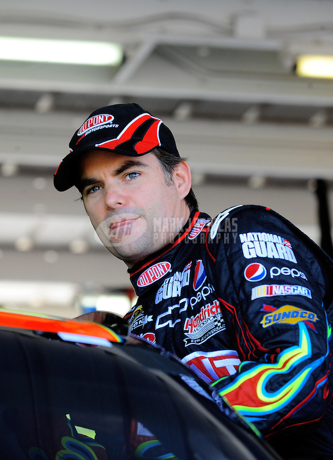 Apr 17, 2009; Avondale, AZ, USA; NASCAR Sprint Cup Series driver Jeff Gordon during practice for the Subway Fresh Fit 500 at Phoenix International Raceway. Mandatory Credit: Mark J. Rebilas-