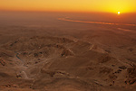 Egypt's Valley of the Kings, Sunrise breaking over the Valley of the Kings, Viewed from the summit of el-Qurn
