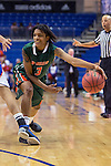 Texas Pan American Lady Broncs guard Ce'Monay Newell (3) in action during the game between the Texas Pan American Lady Broncs  and the Texas Arlington Mavericks at the College Park Center arena in Arlington, Texas. UTPA defeats UTA 59 to 57....