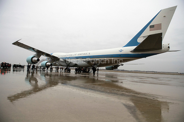 Air Force One is seen on the tarmac at Joint Base Andrews, Maryland on December 6, 2016. United States President-elect Donald Trump tweeted this morning that the government should cancel the order for the new Air Force One replacement from Boeing, citing the more than $4 billion price tag. <br /> Credit: Kevin Dietsch / Pool via CNP /MediaPunch