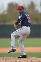 Cleveland Indians relief pitcher Luis Valdez (66) during a Minor League Spring Training game against the Chicago White Sox at Camelback Ranch on March 16, 2018 in Glendale, Arizona. (Zachary Lucy/Four Seam Images)