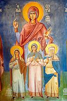 Interior with frescos of the  Agios Symios, kea, Greek Cyclades Island