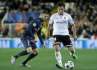 Valencia CF's Tino Costa (r) and Paris Saint-Germain's Jeremy Menez during Champions League 2012/2013 match.February 12,2013. (ALTERPHOTOS/Acero)
