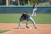 Oakland Athletics second baseman Alexander Campos (6) during an Instructional League game against the Los Angeles Dodgers at Camelback Ranch on October 4, 2018 in Glendale, Arizona. (Zachary Lucy/Four Seam Images)