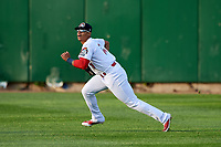 Peoria Chiefs center fielder Nick Plummer (11) tracks a fly ball during a game against the West Michigan Whitecaps on May 9, 2017 at Dozer Park in Peoria, Illinois.  Peoria defeated West Michigan 3-1.  (Mike Janes/Four Seam Images)