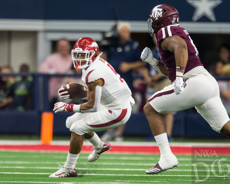 Hawgs Illustrated/Ben Goff<br /> Rakeem Boyd, Arkansas running back, carries in the 1st quarter vs Texas A&M Saturday, Sept. 29, 2018, during the Southwest Classic at AT&T Stadium in Arlington, Texas.
