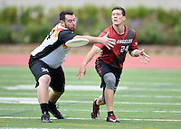 May 24, 2015; Los Angeles, CA, USA; Los Angeles Aviators defensive cutter Andrew Pebley (right) is defended by San Francisco Flamethrowers handler Eli Janin in an American Ultimate Disc League (AUDL) match at Occidental College. The Aviators defeated the Flamethrowers 23-22. <br /> <br /> Photo by Kirby Lee