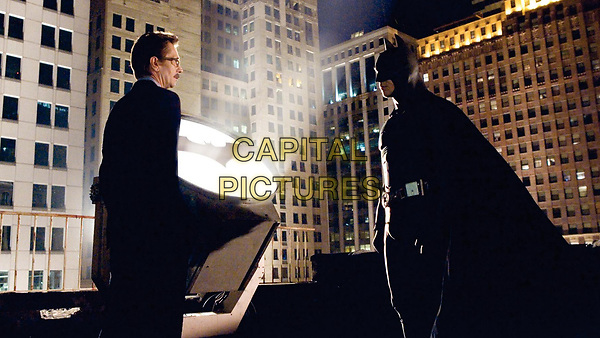 Batman Begins (2005)<br /> Gary Oldman &amp; Christian Bale<br /> *Filmstill - Editorial Use Only*<br /> CAP/KFS<br /> Image supplied by Capital Pictures