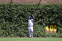 Chicago Cubs outfielder Arismendy Alcantara (7) catches a fly ball during a game against the Milwaukee Brewers on August 14, 2014 at Wrigley Field in Chicago, Illinois.  Milwaukee defeated Chicago 6-2.  (Mike Janes/Four Seam Images)