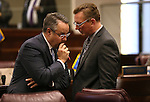 Nevada Senate Republicans Mark Lipparelli, left, and Ben Kieckhefer talk on the Senate floor during a special session at the Nevada Legislature in Carson City, Nev. on Tuesday, Oct. 11, 2016. <br /> Photo by Cathleen Allison