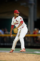 Johnson City Cardinals relief pitcher Juan Alvarez (27) delivers a pitch during a game against the Danville Braves on July 28, 2018 at TVA Credit Union Ballpark in Johnson City, Tennessee.  Danville defeated Johnson City 7-4.  (Mike Janes/Four Seam Images)