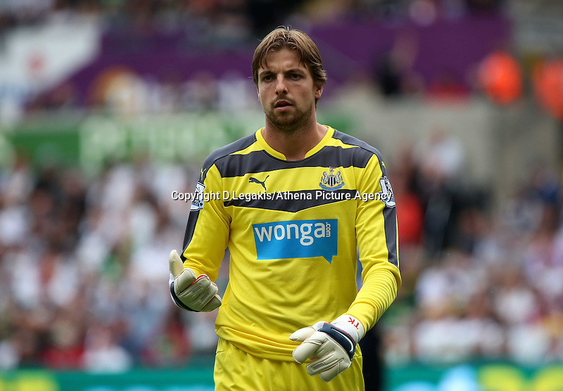 Pictured: Tim Krul of Newcatle Saturday 15 August 2015<br /> Re: Premier League, Swansea City v Newcastle United at the Liberty Stadium, Swansea, UK.