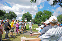 Dustin Johnson (USA) high fives fans enroute to 11 during Saturday's round 3 of the World Golf Championships - Bridgestone Invitational, at the Firestone Country Club, Akron, Ohio. 8/5/2017.<br /> Picture: Golffile | Ken Murray<br /> <br /> <br /> All photo usage must carry mandatory copyright credit (&copy; Golffile | Ken Murray)