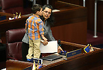 Nevada Assemblywoman Olivia Diaz, D-North Las Vegas, and her son on the Assembly floor at the Legislative Building in Carson City, Nev., on Friday, May 1, 2015.<br /> Photo by Cathleen Allison