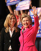 Washington, D.C. - March 25, 2008 -- United States Senator Hillary Rodham Clinton (Democrat of New York) accompanied by her daughter Chelsea, speaks at a fund-raiser at DAR Constitution Hall in Washington, D.C. on Wednesday, March 26, 2008..Credit: Ron Sachs / CNP.(RESTRICTION: NO New York or New Jersey Newspapers or newspapers within a 75 mile radius of New York City)