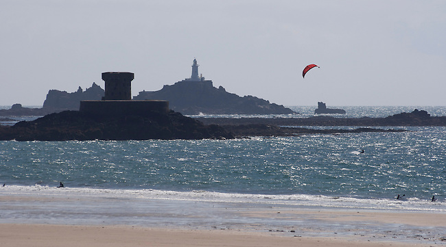 windsurfing at St Ouens Bay, Jersey