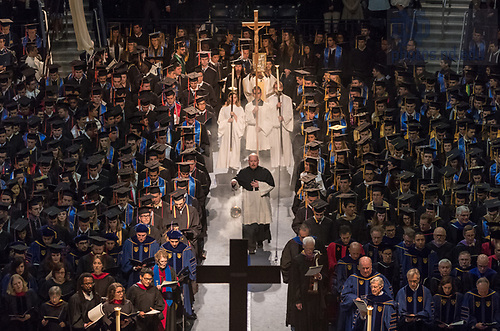 May 20, 2017;  Commencement Mass opening procession 2017. (Photo by Barbara Johnston/University of Notre Dame)