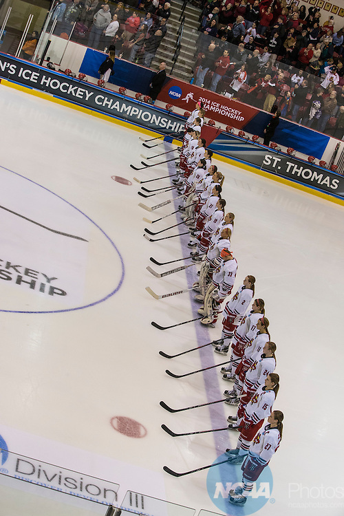 22 MAR 2014: Division III Women's Ice Hockey Championship held at Stafford Arena in Plattsburgh, NY. Plattsburgh State defeated Norwich University 9-2 for the national title. Nancie Battaglia/NCAA Photos