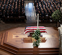 December 5, 2018 - Washington, DC, United States: The casket of former President George W. Bush is displayed during his state funeral at the National Cathedral.  <br /> <br /> CAP/MPI/RS<br /> &copy;RS/MPI/Capital Pictures