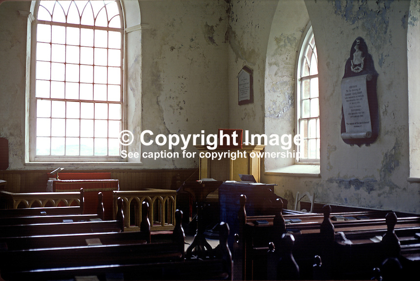 Interior, Church of Ireland, Rathlin Island, Co Antrim, N Ireland, UK.  197809000241k..Copyright Image from Victor Patterson, 54 Dorchester Park, Belfast, United Kingdom, UK...For my Terms and Conditions of Use go to http://www.victorpatterson.com/Victor_Patterson/Terms_%26_Conditions.html