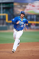 Corpus Christi Hooks third baseman J.D. Davis (26) running the bases during a game against the Frisco RoughRiders on April 23, 2016 at Whataburger Field in Corpus Christi, Texas.  Corpus Christi defeated Frisco 3-2.  (Mike Janes/Four Seam Images)