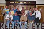 OLD RESERVE: The final day of the Golf season for the Old Reserve Golfing Socity on Saturday at Dooks Golf Club on Saturday.Winner with their prizes Front l-r: Richard Roundtree(overall winner), John Campbell (Capt),Richard Greer (Golfer of the year) and Tommy Egan(Vice Capt). Back l-r: Gene Kelly, Johnny Conway, Paul Mooney(incoming President), Bobby Millar,Danny Holly,David Curtin,Mark Greer,Sean McCord and Tommy Griffin...Kealnne Ross and Sinead Boyle..B   Copyright Kerry's Eye 2008