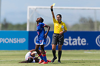 Bradenton, FL - Sunday, June 12, 2018: Milan Pierre, referee prior to a U-17 Women's Championship 3rd place match between Canada and Haiti at IMG Academy. Canada defeated Haiti 2-1.