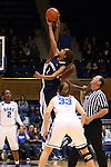02 January 2014: Shae Kelley (1) challenges for the opening tipoff. The Duke University Blue Devils played the Old Dominion University Lady Monarchs in an NCAA Division I women's basketball game at Cameron Indoor Stadium in Durham, North Carolina. Duke won the game 87-63.