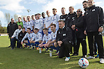 Vauxhall Motors FC 0 Solihull Moors 2, 26/04/2014. Rivacre Park, Conference North. The home team and staff line up for a team photograph for the last time after Vauxhall Motors played Solihull Moors at Rivacre Park in the final Conference North fixture of the season. It was to be the last match for the Ellesmere Port-based home club, named after the giant car factory in the town, who have resigned from the professional pyramid system to return to local amateur football due to spiralling costs and low attendances. Their final match resulted in a 2-0 home defeat, watched by a crowd of only 215. Photo by Colin McPherson.
