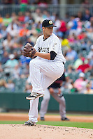 Charlotte Knights starting pitcher Andre Rienzo (9) in action against the Pawtucket Red Sox at BB&T Ballpark on August 10, 2014 in Charlotte, North Carolina.  The Red Sox defeated the Knights  6-4.  (Brian Westerholt/Four Seam Images)