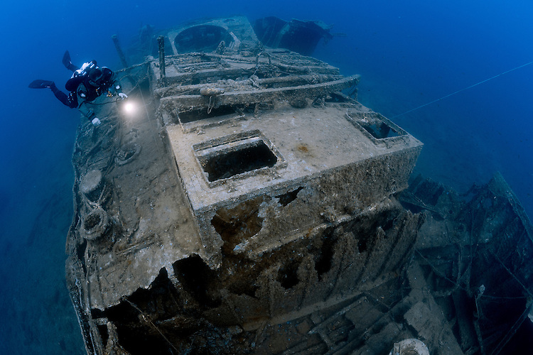 The wreck of the British steam tug HMS Hellespont which was sunk by a bomb in World War 2