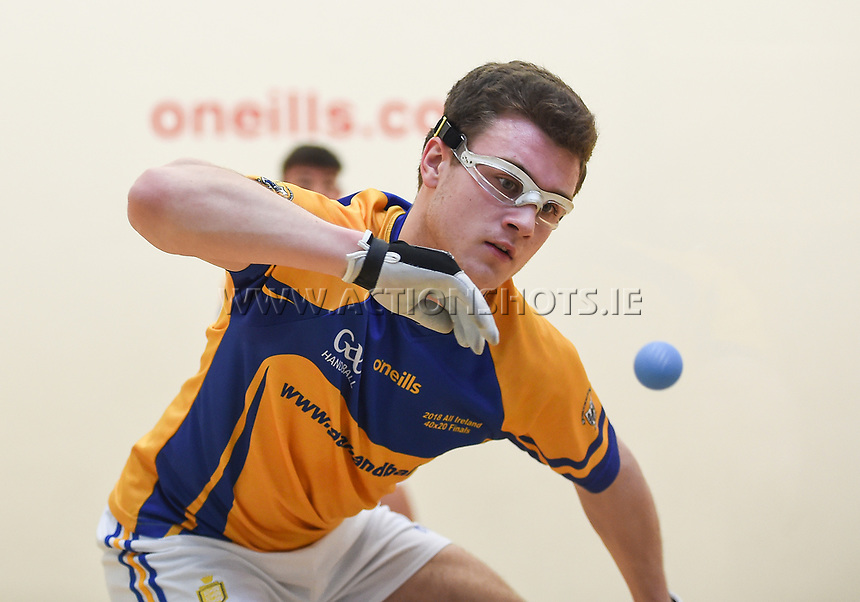 07/04/2018; GAA Handball O&rsquo;Neills 40x20 Championship Final Boys Minor Doubles Clare (Tiarnan Agnew/Mark Rodgers) v Kilkenny (Padraig Foley/Eoin Brennan); Kingscourt, Co Cavan;<br /> Tiarnan Agnew<br /> Photo Credit: actionshots.ie/Tommy Grealy