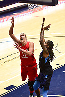 Washington, DC - September 2 2018: Washington Mystics forward Elena Delle Donne (11) goes up for a layup around Atlanta Dream forward Jessica Breland (51) during semifinals game against Atlanta Dream. Mystics even the series and force a deciding game 5 in Atlanta with a 97-76 win at the Charles Smith Center at George Washington University in Washington, DC. (Photo by Phil Peters/Media Images International)