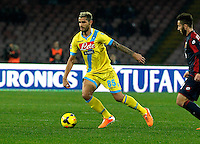 Valon Behrami   in action during the Italian Serie A soccer match between SSC Napoli and Genoa CFC   at San Paolo stadium in Naples, February 24 , 2014