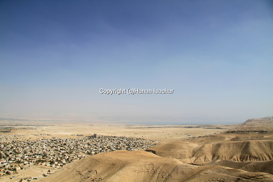 A view of Jericho, the Jordan valley and the Dead Sea from Kypros, King Herod's fortress and palace