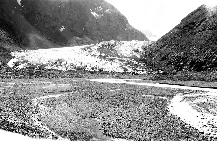 Eklutna Glacier in 1915, image taken by U.S. Geological Survey geologist Stephen Reid Capps.  Eklutna Glacier is located in the Eklutna Lake area of Chugach State Park, Alaska, United States.
