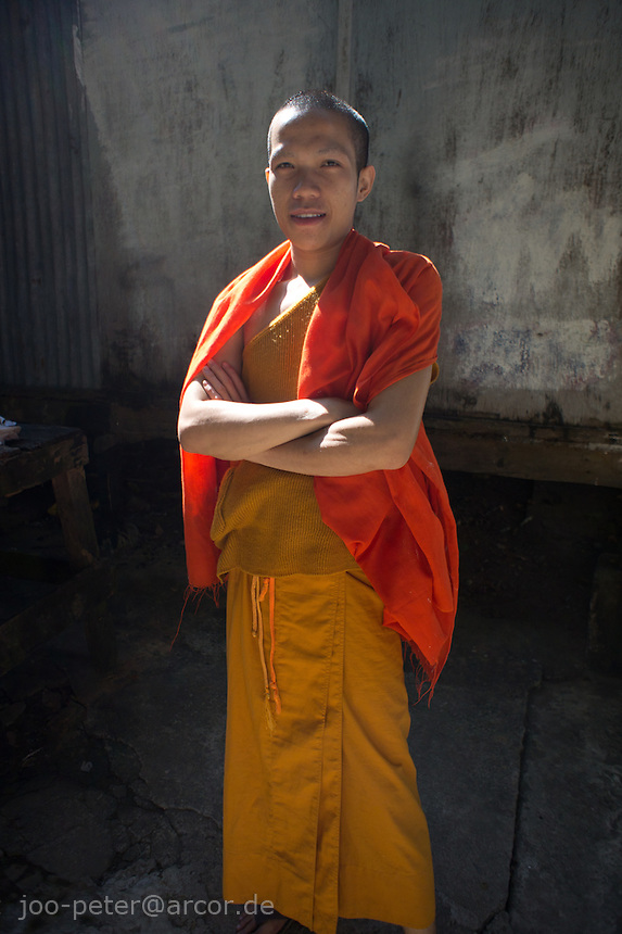 young buddhist monk,  monastery in Luang Prabang,  Laos, 2012
