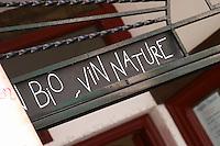 Wine shop. sign Bio Vin nature, Organic and natural wine. Banyuls sur Mer, Roussillon, France