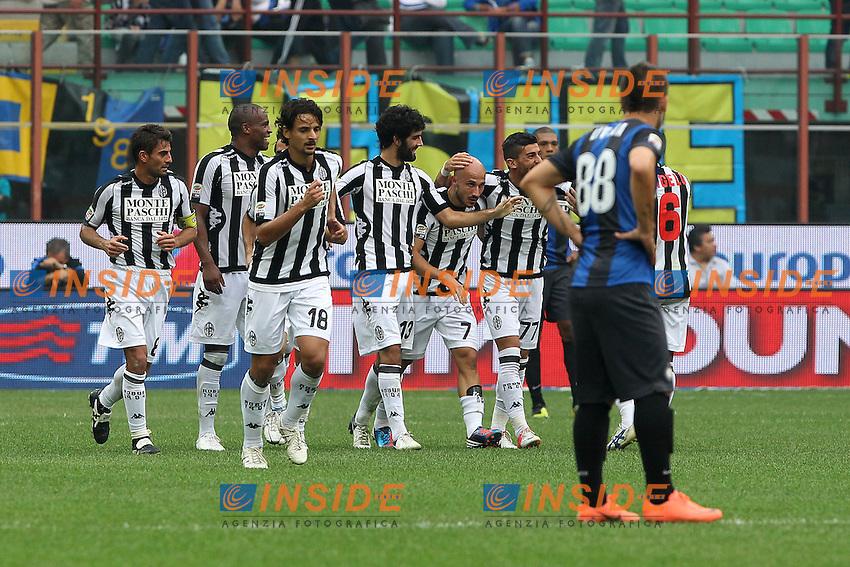 "Esultanza Francesco Valiani Siena.Goal Celebration.Milano 23/09/2012 Stadio ""San Siro"".Football Calcio Serie A 2012/13.Inter v Siena.Foto Insidefoto Paolo Nucci."