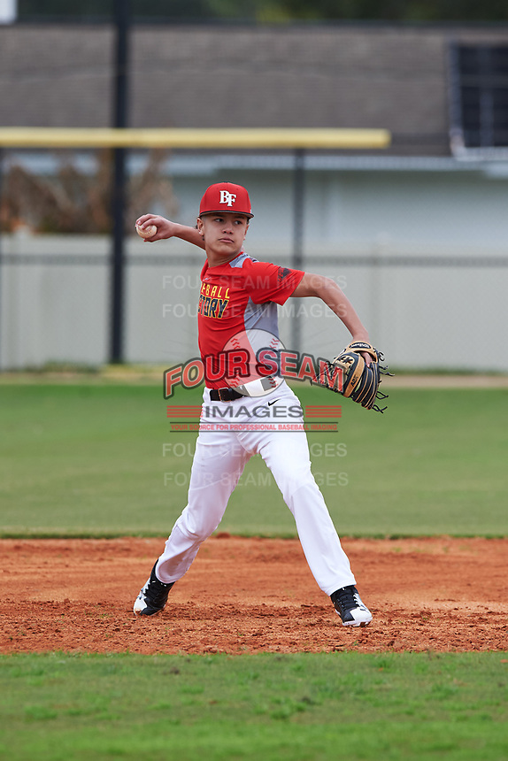 Ronald Benavidez (3) of Alice, Texas during the Baseball Factory All-America Pre-Season Rookie Tournament, powered by Under Armour, on January 13, 2018 at Lake Myrtle Sports Complex in Auburndale, Florida.  (Michael Johnson/Four Seam Images)