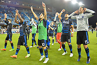 San Jose, CA - Monday July 10, 2017: Cordell Cato, Jahmir Hyka, Victor Bernardez, Andres Imperiale after a U.S. Open Cup quarterfinal match between the San Jose Earthquakes and the Los Angeles Galaxy at Avaya Stadium.