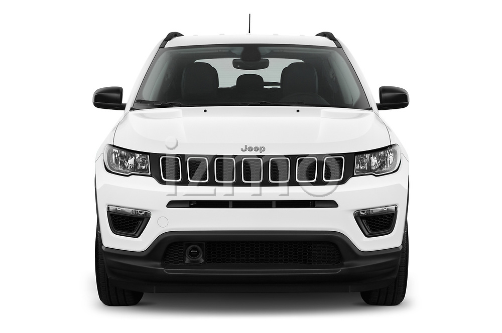 Car photography straight front view of a 2017 Jeep Compass Sport 2wd 5 Door SUV