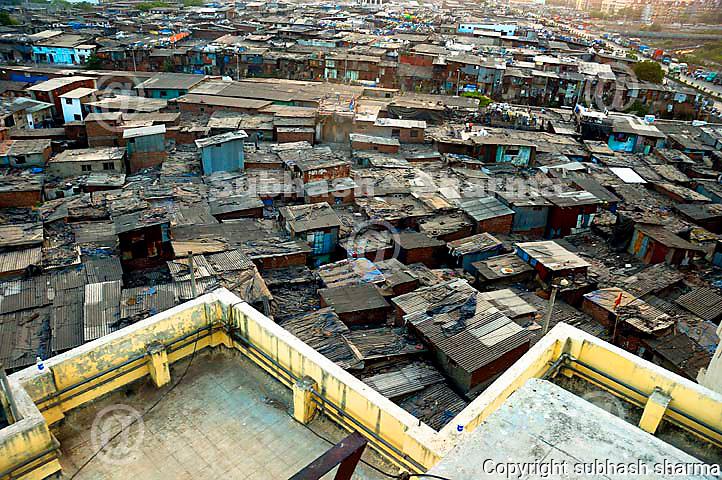 Dharavi Slum Mumbai Ariel view