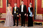 Juliana Awada, president of Argentine Republic, King Felipe VI of Spain and Queen Letizia during the gala dinner given to the President of the Argentine Republic, Sr. Mauricio Macri and Sra Juliana Awada at Real Palace in Madrid, Spain. February 19, 2017. (ALTERPHOTOS/BorjaB.Hojas)