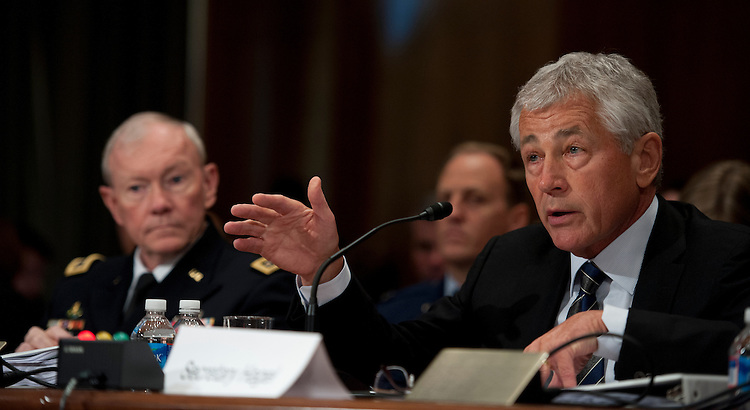 UNITED STATES - June 11: Gen. Martin E. Dempsey, Chairman of the Joint Chiefs of Staff and Chuck Hagel, Secretary of Defense during the Senate Appropriations Committee hearing on Defense Department Leadership on June 11, 2013. (Photo By Douglas Graham/CQ Roll Call)